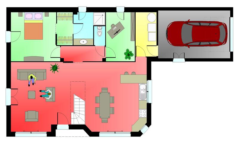 Plan rez de chaussée maison ERICLOR